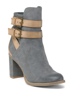 Ankle Wrap Buckle Booties