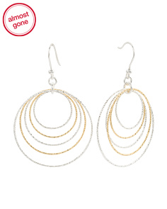 Made In Italy Two Tone Sterling Silver Circles Earrings