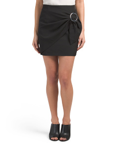 Juniors Asymmetrical Belted Skirt