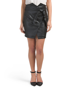 Juniors Faux Leather Skirt