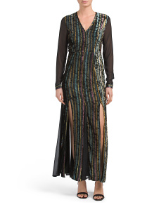 Juniors Mesh And Velvet Maxi Dress
