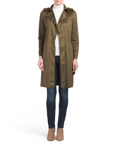 Juniors Sueded Draped Trench Coat