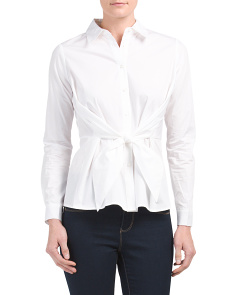 Juniors Tie Waist Poplin Shirt