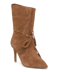 Suede Pointy Toe Mid Shaft Booties
