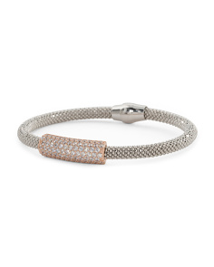 Made In Italy Two Tone Sterling Silver CZ ID Bracelet