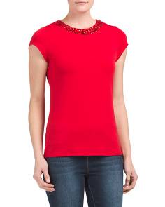 Short Sleeve Top With Jeweled Collar