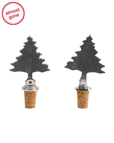 2pk Christmas Tree Cork Topper Set