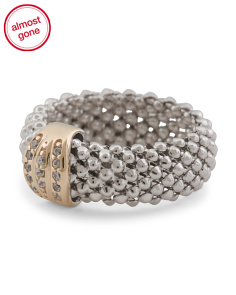 Made In Italy Sterling Silver Mesh And 14k Gold Ring