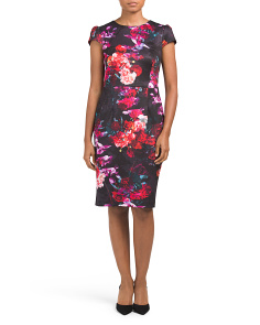 Cap Sleeve Floral Scuba Dress