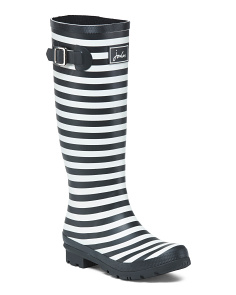 Striped High Shaft Rain Boots With Buckle