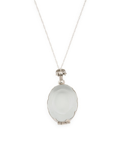 Made In Mexico Sterling Silver Oval Glass Locket Necklace