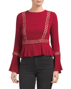 Woven Top With Contrast Crochet