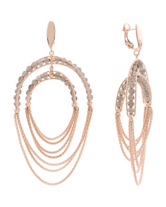 Made In Italy 14k Rose Gold Smoky Quartz Chain Drop Earrings