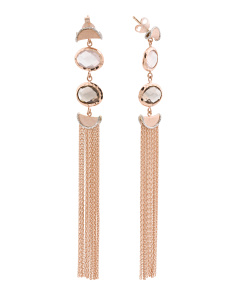 Made In Italy Two Tone 14k Gold Gemstone Tassel Earrings