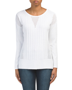 Mesh Knit Detail Lightweight Sweater