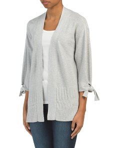 Tie Sleeve Open Cardigan