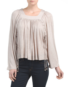 Juniors Braided Front Knit Top