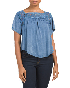 Juniors Crochet Inset Knit Top