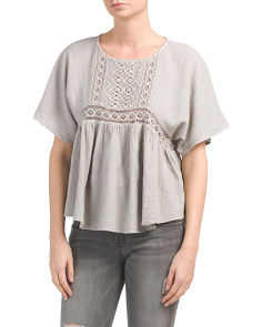 Juniors Gauze Top With Crochet Inset