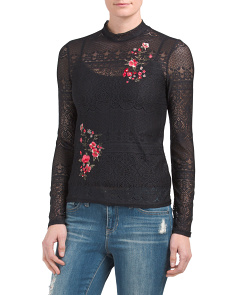 Juniors Embroidered Lace Top