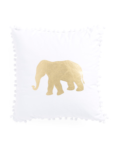 16x16 Gold Foil Elephant Pillow