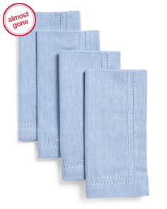 Made In India Set Of 4 Chambray Hemstitch Napkins
