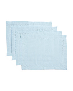 Made In India Set Of 4 Chambray Hemstitch Placemats