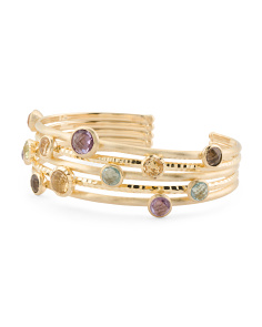 Made In Italy 14k Gold Multi Gemstone 6 Row Cuff Bracelet