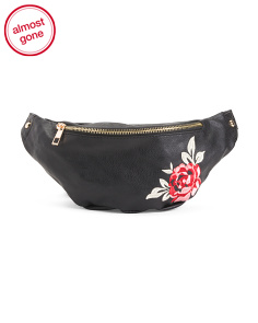 Rose Embroidered Fanny Pack