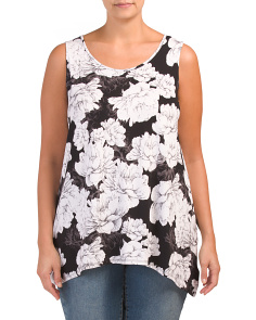 Plus Jasmine Floral Sharkbite Hem Top