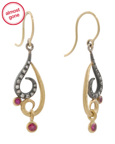 Handmade In USA 22k And Silver Diamond And Ruby Earrings
