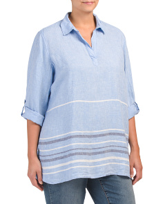 Plus Linen Striped Popover Top