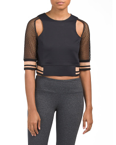 Mesh Sleeve Metallic Trim Cropped Top