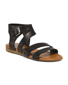 Asymmetrical Buckle Leather Sandals