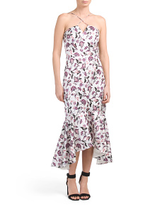100% Fabric Floral Midi Length Dress with High Low Ruffle