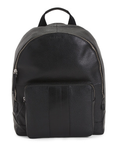 Leather Striped Backpack
