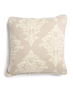 Made In India 18x18 Fleur De Lis Linen Pillow
