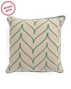 Made In India 22x22 Linen Embroidered Chevron Pillow