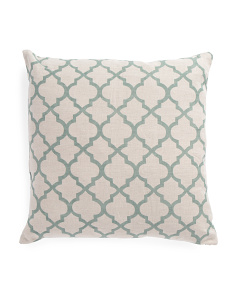 Made In India 22x22 Linen Quatrefoil Pillow