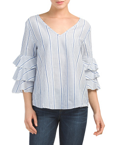 Made In USA Striped Ruffle Top