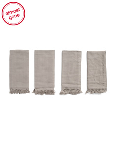 Made In India Set Of 4 Fringed Napkins