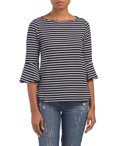 Made In USA Striped Crepe Top
