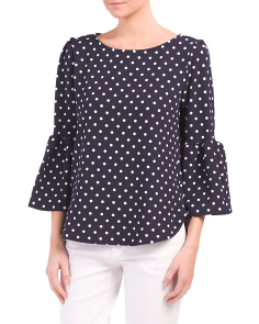 Made In USA  Polka Dot Crepe Top