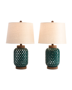 Set Of 2 Open Ceramic Lamps