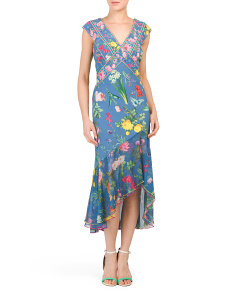 Asymmetrical Hi-lo Floral Dress
