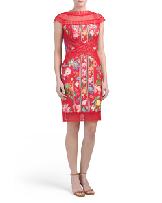 Lace & Mesh Floral Sheath Dress