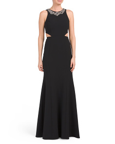 Embellished Neck Long Gown