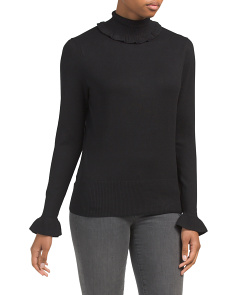 Turtleneck Ruffle Trim Sweater