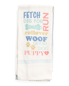 2pc All Over Dog Words Kitchen Towel Set