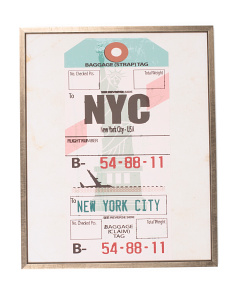 24x30 NYC Luggage Tag Print Wall Art